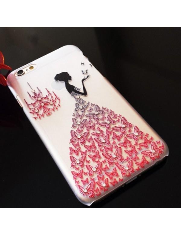 Coque silicone iPhone 6/6S  - Motif: Robe diamant rouge