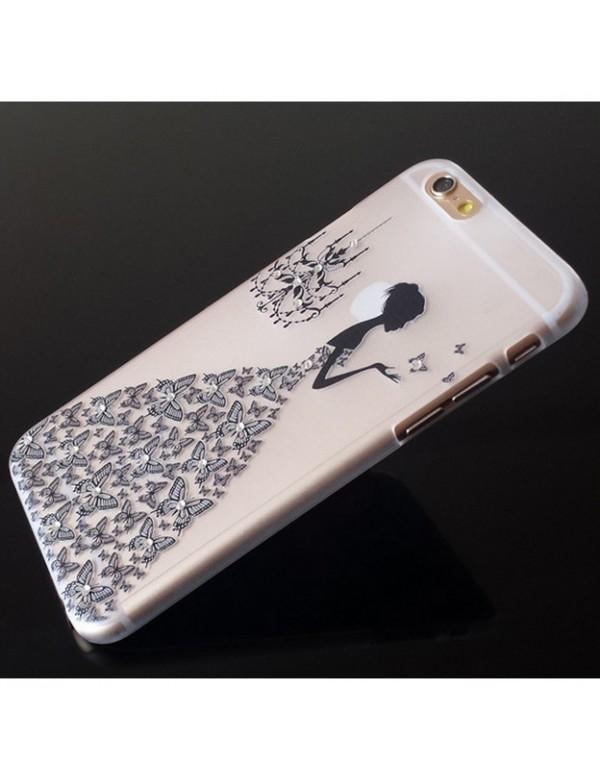 Coque silicone iPhone 6/6S  - Motif: Robe diamant noir