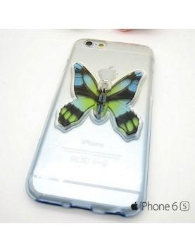 Coque silicone iPhone 6/6S bleu avec papillon en 3D