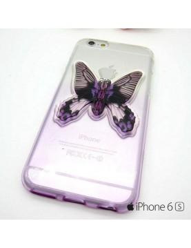 Coque silicone iPhone 6/6S  transparente violet avec papillon en 3D