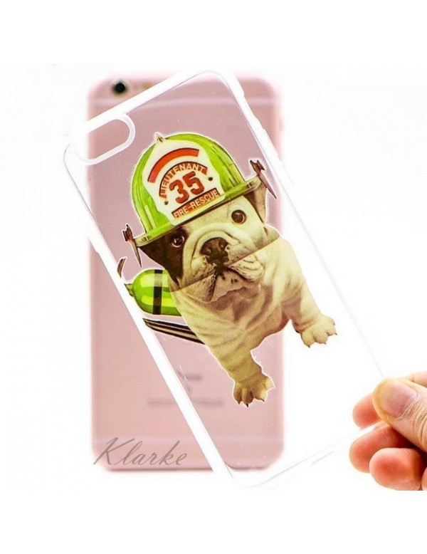 Coque souple iPhone 6/6S - Chien bouledogue Lieutenant pompier