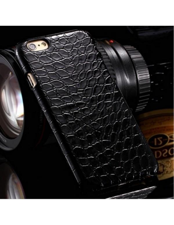 Coque rigide iPhone 6/6S - Imitation peau de crocodile noir