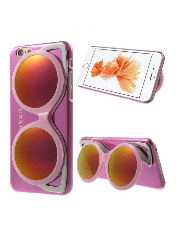 Coque iPhone 6/6S - Lunette de soleil rose design miroir brillant