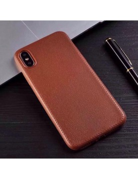 coque-téléphone-iPhone-x-silicone-imitation-cuir-marron