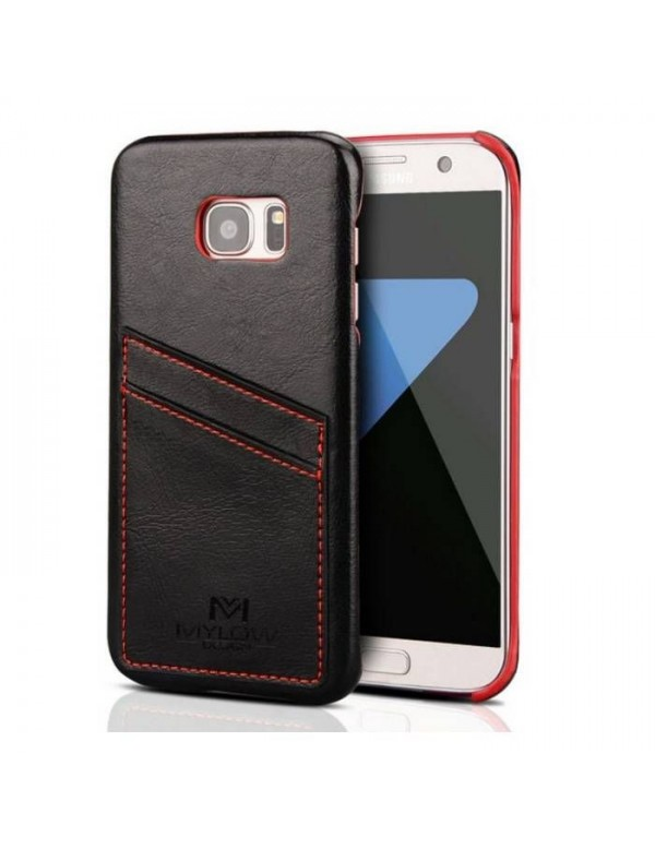 Coque Mylow Design pour Samsung Galaxy S7 Edge - Cuir Noir