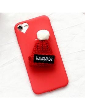 Coque-silicone-rouge-iphone-66s-bonnet-en-laine