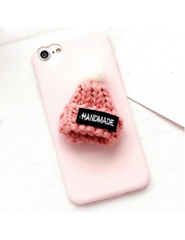 Coque souple rose iPhone 5/5S/SE - Bonnet et pompon en laine 3D