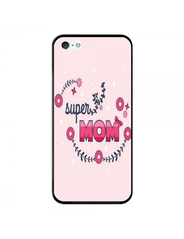 Coque Rigide iPhone 5/5S/SE - Super Mom Rose - Super Maman