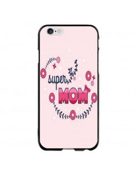 Coque-Rigide-iPhone-6/6S - Super-Mom-Rose-fleurs