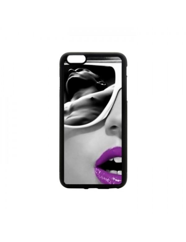 Coque rigide iPhone 6/6S - lèvres violette avec reflet homme sexy