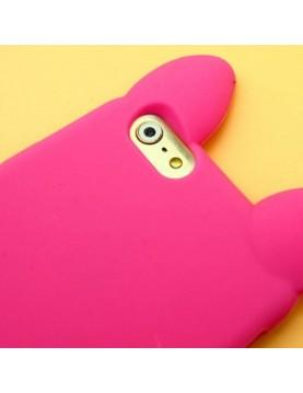 Coque silicone iPhone 6/6S - Oreilles de chat en 3D - Rose fuschia