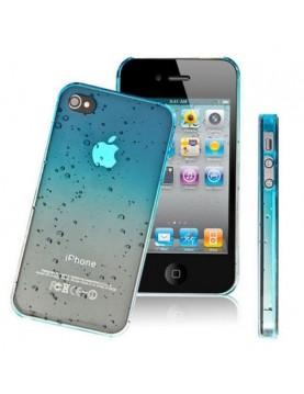 Coque rigide iPhone 4/4S Couleur Bleu ciel translucide effet 3d goutte de pluie
