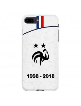 Coque rigide iPhone 7 PLUS/8 PLUS - Football Champion du monde 2018 - Maillot blanc