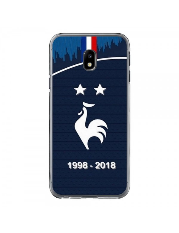 Coque rigide Samsung Galaxy J3 de 2017 - Football Champion du monde 2018 - Merci les bleus!