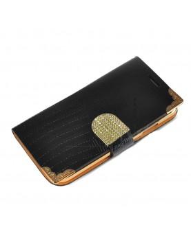 Etui-portefeuille-Samsung-Galaxy-S4-Luxury-Croco-Noir