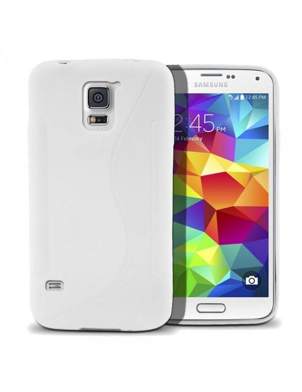 Coque en silicone pour Samsung Galaxy S5  Grip Blanc