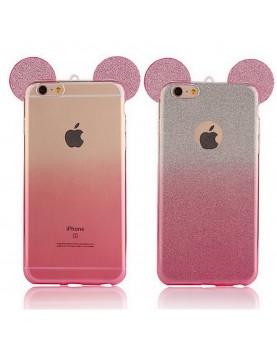 Coque silicone iPhone 6 Plus/6S Plus-  Oreilles de Mickey pailletée Rose