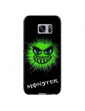 Coque-Samsung-Galaxy-S7-Edge-Tête-Monster-vert-fluo-coté-noir
