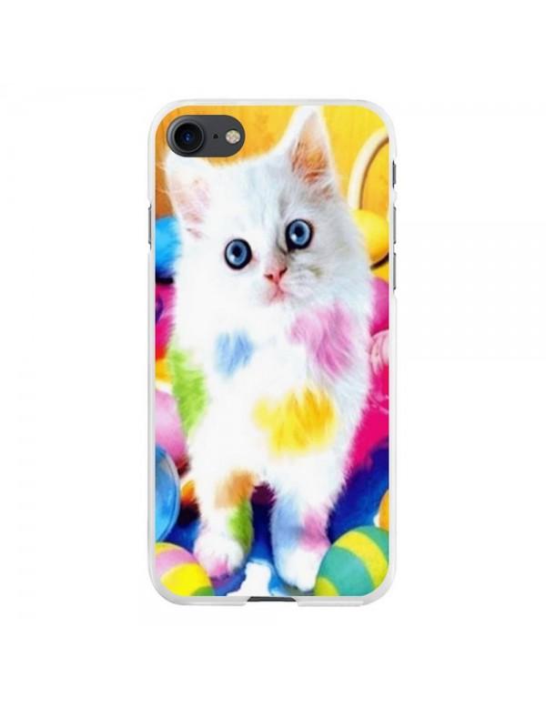 Coque iPhone 7/8 - Chaton blanc peinture couleurs