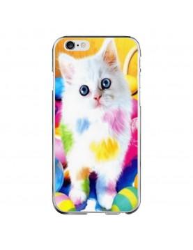 Coque-rigide-iPhone-6-6S-chaton-blanc-peinture-couleurs