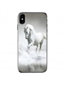 Coque-transparente-iPhone-X-Magnifique-cheval-blanc-eau