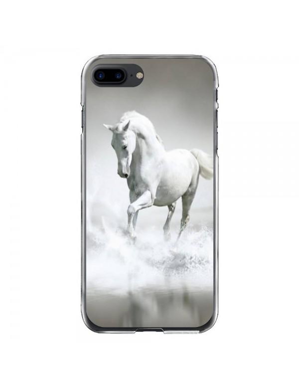 Coque iPhone 7 PLUS/8 PLUS - Magnifique cheval blanc sur l'eau