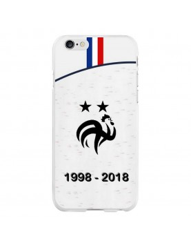 Coque rigide iPhone 6 PLUS/6S PLUS - Football Champion du monde 2018 - Maillot blanc