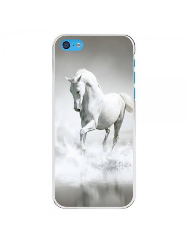 Coque iPhone 5C - Magnifique cheval blanc sur l'eau