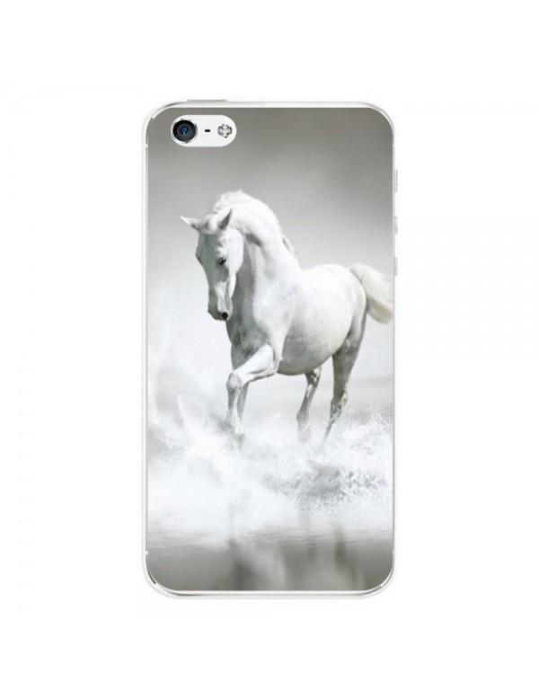 Coque iPhone 4/4S - Magnifique cheval blanc sur l'eau