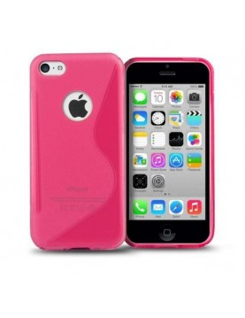 Coque iPhone 5C Silicone Grip Rose fluo