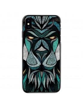 Coque-Rigide-iPhone-X-XS-Tete-de-Lion-Trybal-Bleu