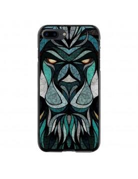 coque-rigide-iPhone-7-Plus-8-Plus-Tete-de-Lion-Trybal-Bleu