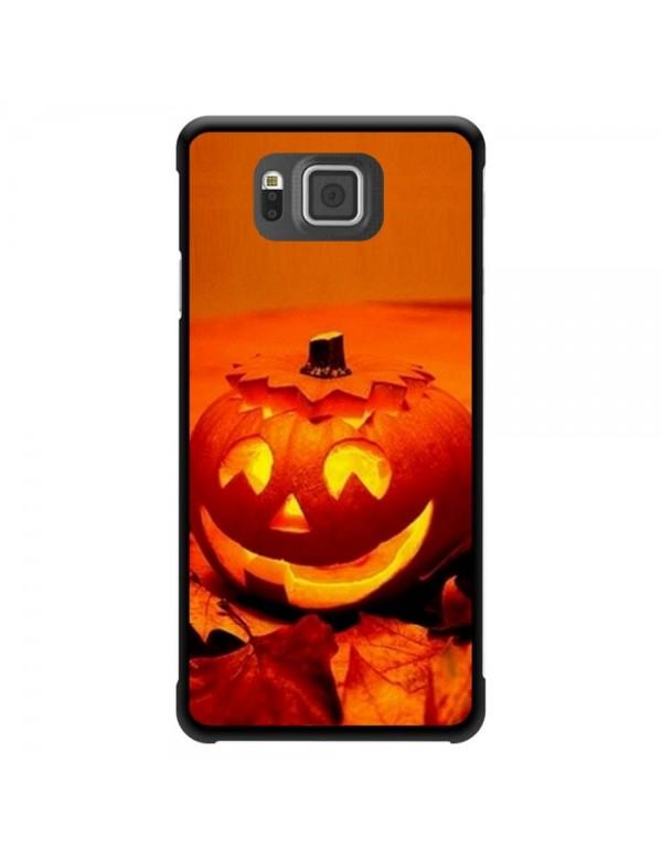 """Coque Samsung Galaxy Alpha """"Halloween"""" citrouille orange"""
