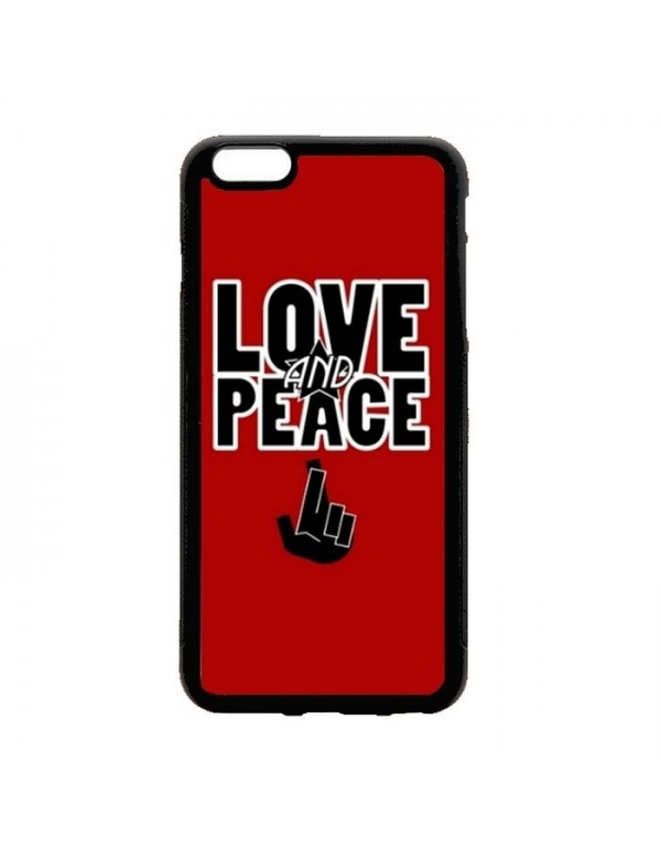 Coque iPhone 5C Peace & Love rouge