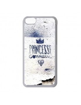 Coque 2D blanche iPhone 5C princesse connasse bleu