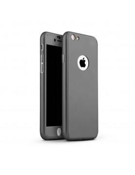 Coque silicone Gris Sidéral 360° iPhone 7  Plus et 8 Plus + verre trempé