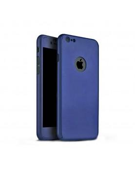 Coque silicone noir 360° iPhone 7 et 8 Bleu marine verre trempé