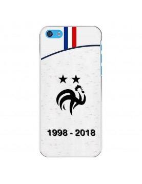 Coque-iphone-5C-Football-Champion-du-Monde-2018-Maillot-Blanc