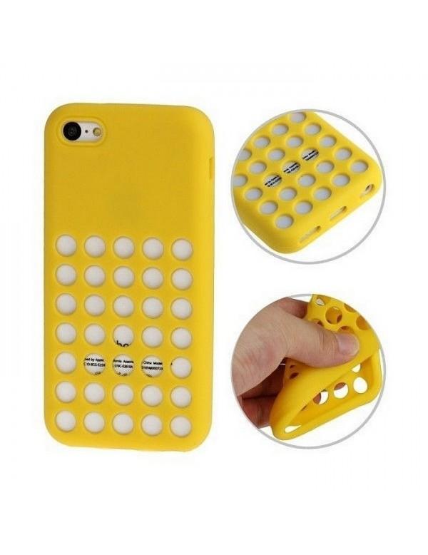 Coque en silicone jaune à trous pour iPhone 5/5S/SE