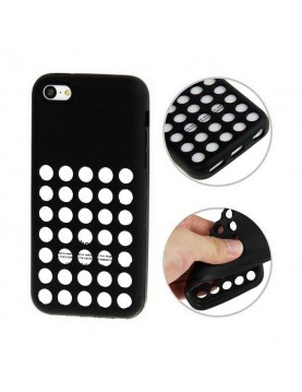 Coque en silicone noir à trous pour iPhone 5/5S/SE