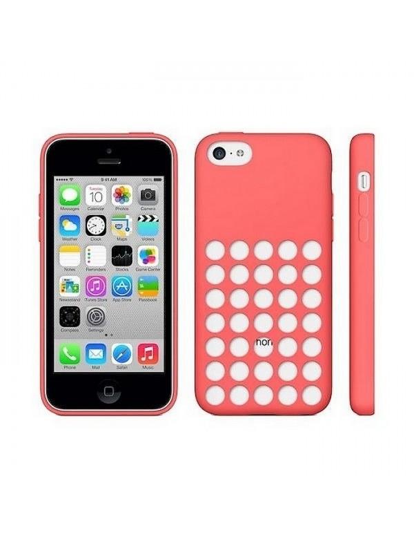 Coque en silicone rose à trous pour iPhone 5/5S/SE