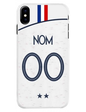 Coque football à personnaliser pour iPhone X/XS Champion du monde maillot blanc