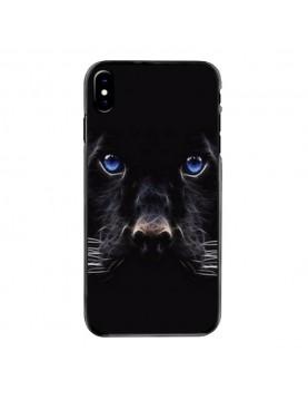 Coque iPhone X Panthere noire aux yeux bleus