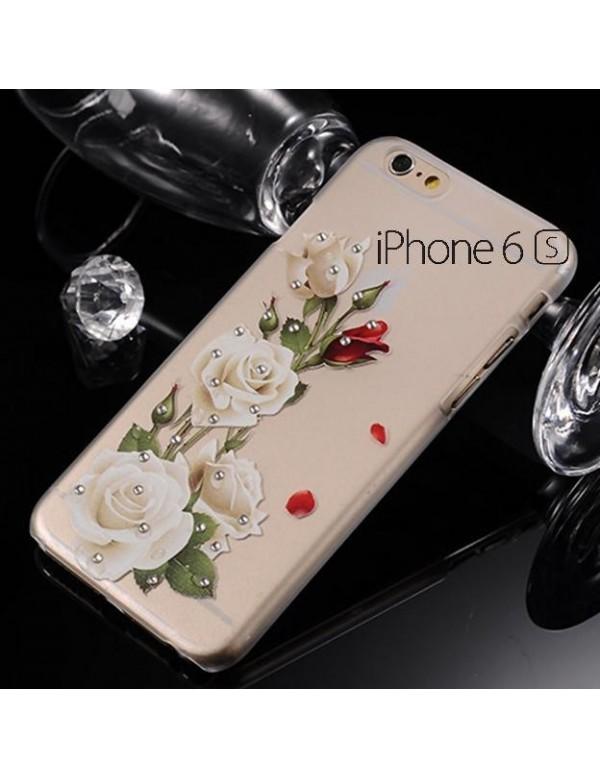 iPhone 5/5S Coque souple avec des roses blanche sur fond transparent