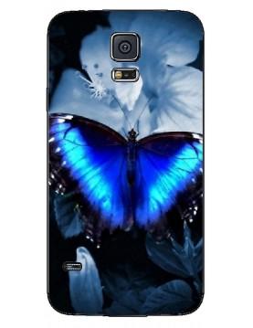 Samsung Galaxy S5 Coque souple Papillon bleu