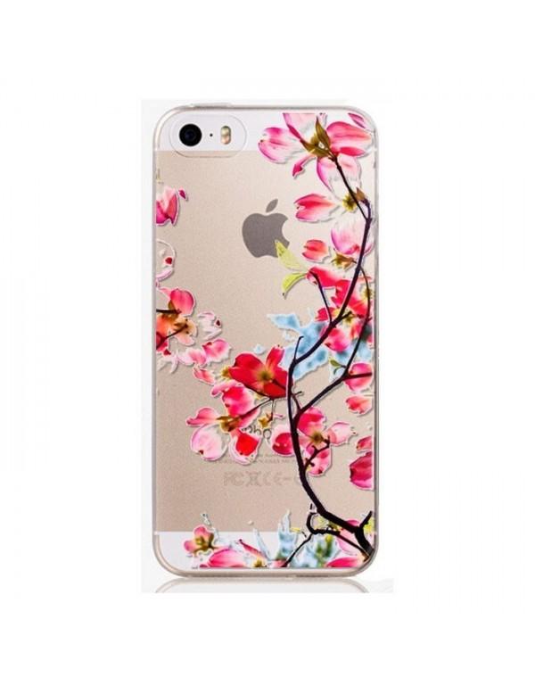 Coque silicone transparente iPhone 5/5S - Belles fleurs rose