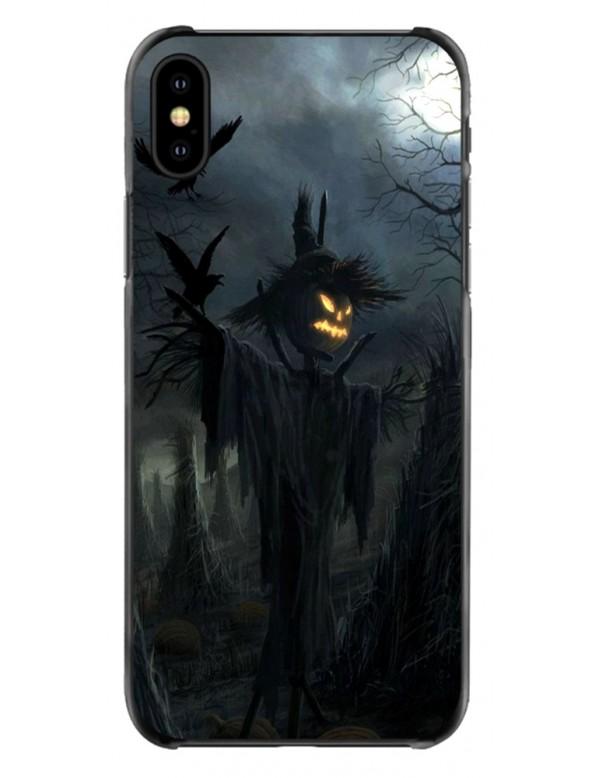 Coque iPhone souple Halloween Épouvantail tête de citrouille.