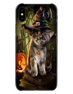 Coque iPhone souple Halloween Chaton malicieux avec un chapeau de sorcière..