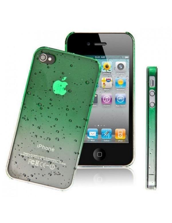Coque rigide  iPhone 4/4S - Couleur Verte transparente effet 3d goutte de pluie