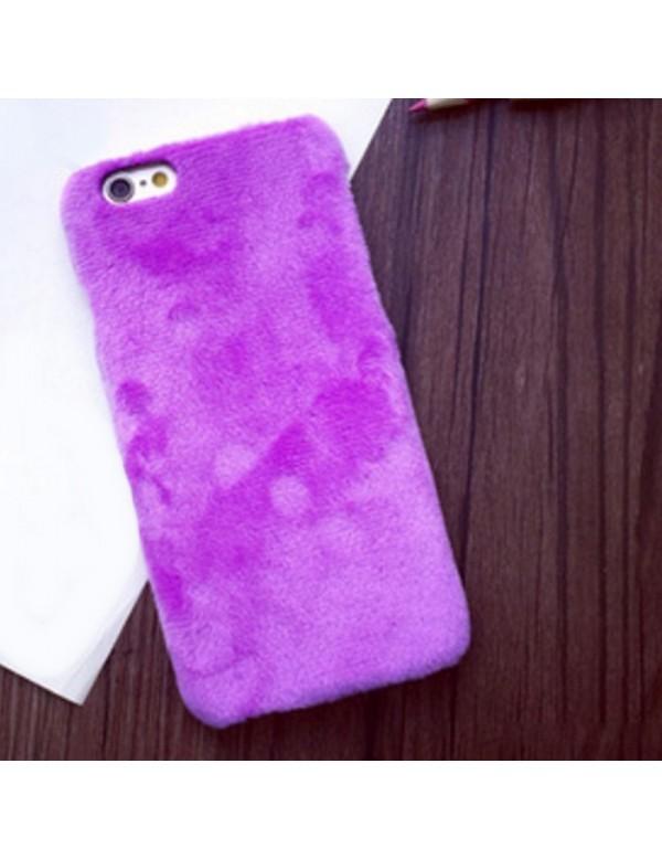 Coque iPhone 6/6S - Peau de peluche fourrure violet